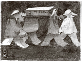 E Fasnacht fir dr Ärnscht. Zeichnung von Louis Moor (1893–1957) um 1930.